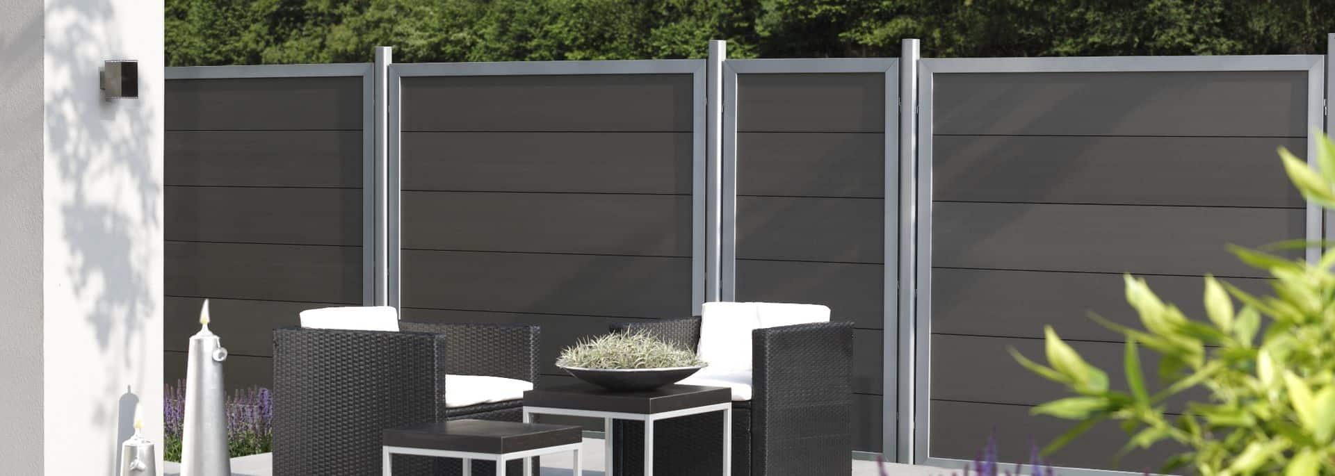 1 Design Sichtschutz Wpc Farbe Anthrazit Holz Im Garten