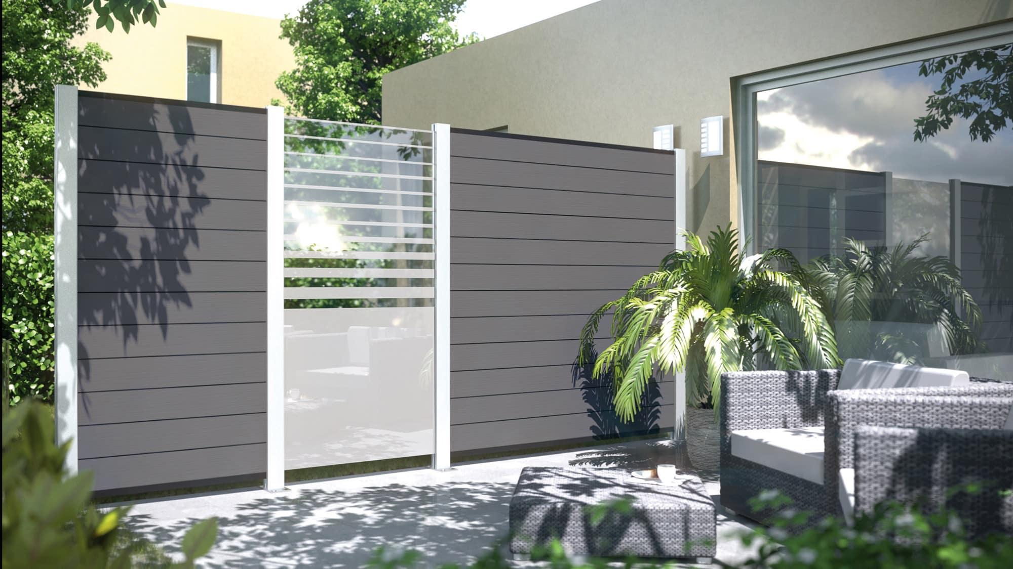 3 System Glas Typ Beta Und Sichtschutz Wpc Farbe Anthrazit Holz