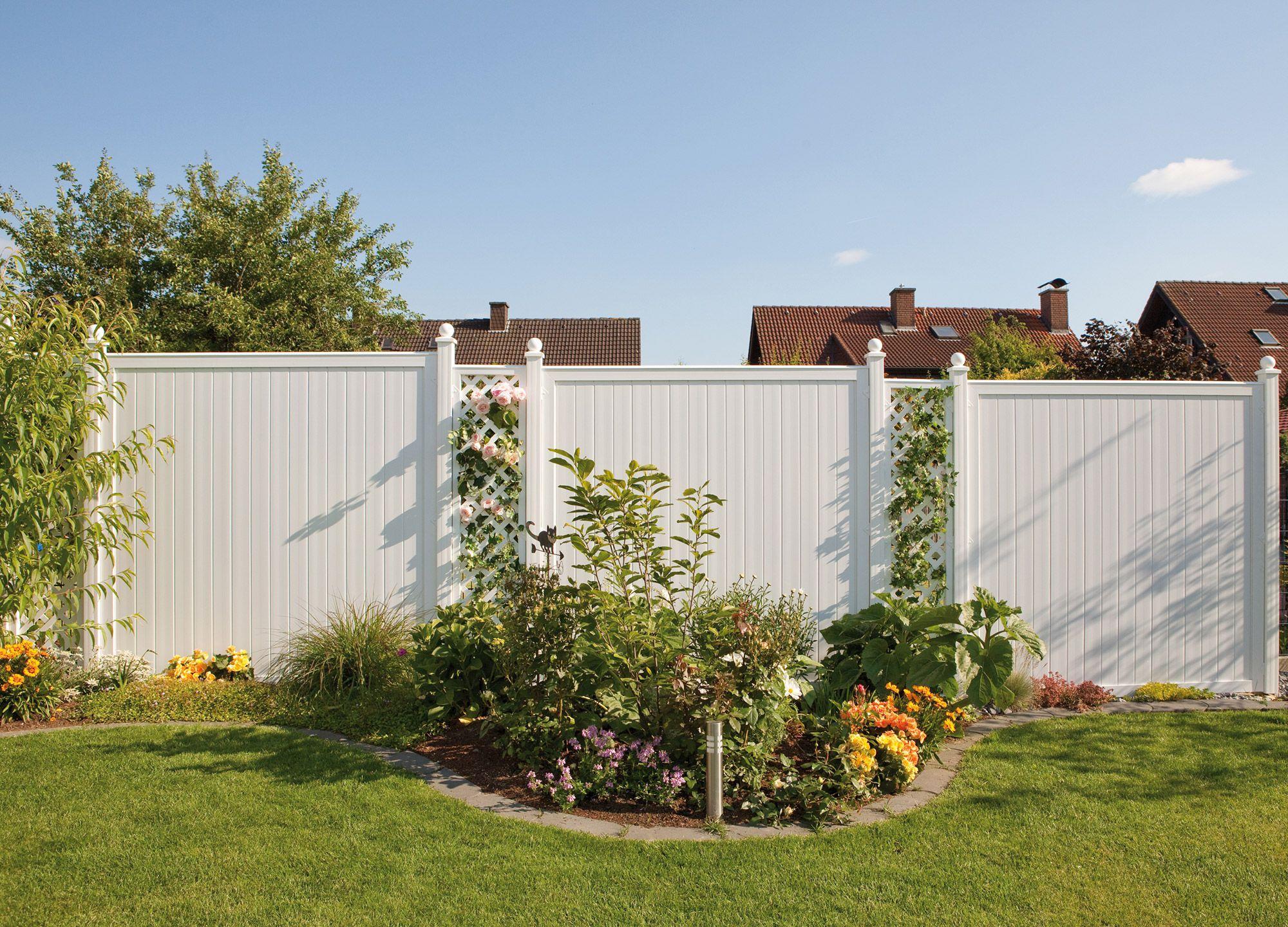8 Longlife Riva Sichtschutz Farbton Weiss Holz Im Garten